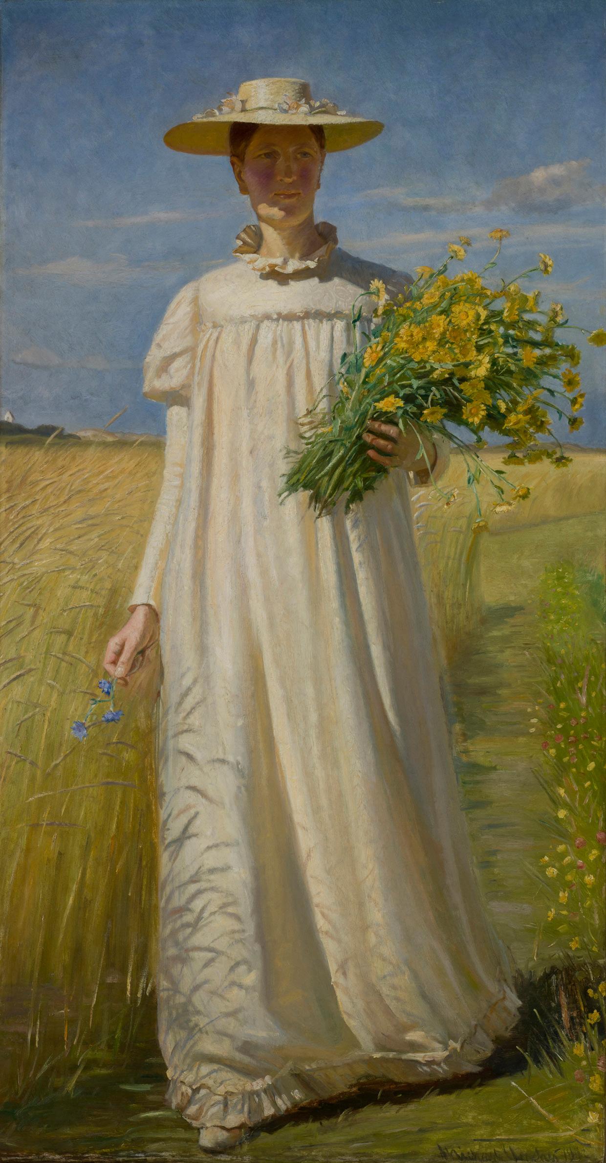 Michael Ancher, Anna Ancher vender hjem fra marken, 1902. Skagens Museum. Foto Skagens Museum