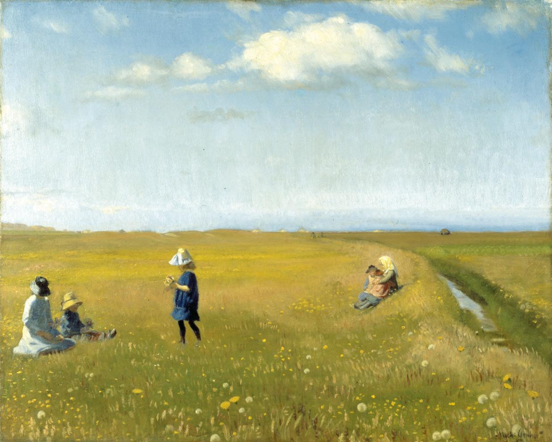 Michael Ancher, Børn og unge piger plukker blomster på en mark nord for Skagen, 1887. Foto Skagens Museum