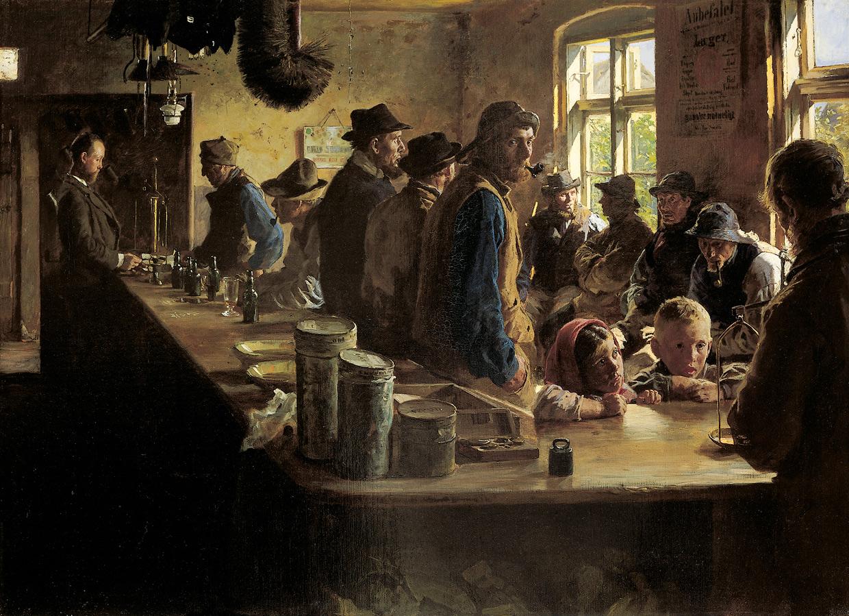 P.S. Krøyer, I købmandens bod, når der ikke fiskes. Skagen, 1882. Den Hirschsprungske Samling. Foto Den Hirschsprungske Samling