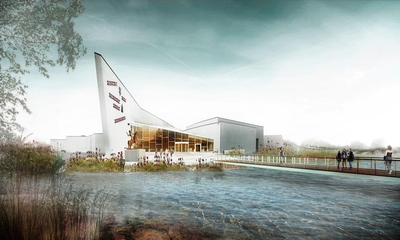 Visualisering af Kunstens Ø fra ankomstbroen. Illustation Møller & Grønborg