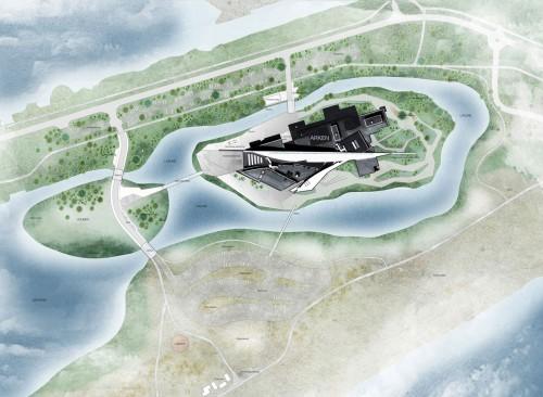Visualisering, Kunstens Ø, ARKEN. Illustration Møller og Grønborg