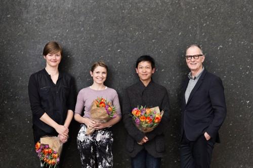 Karoline H larsen, Gudrun Hasle, Danh Vo, Christian Gether. ARKENs Kunstpris og Rejselegat 2015. Foto Sofie Amalie Klougart