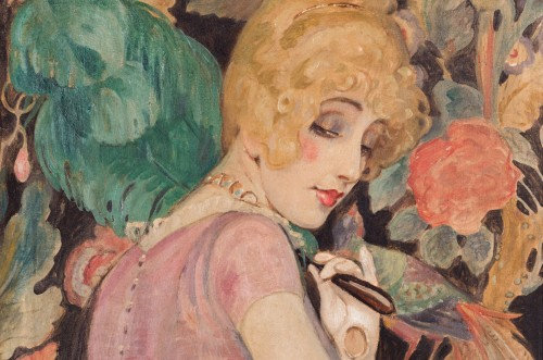 Gerda-Wegener,-Lili-med-fjerkost,-1920_detalje