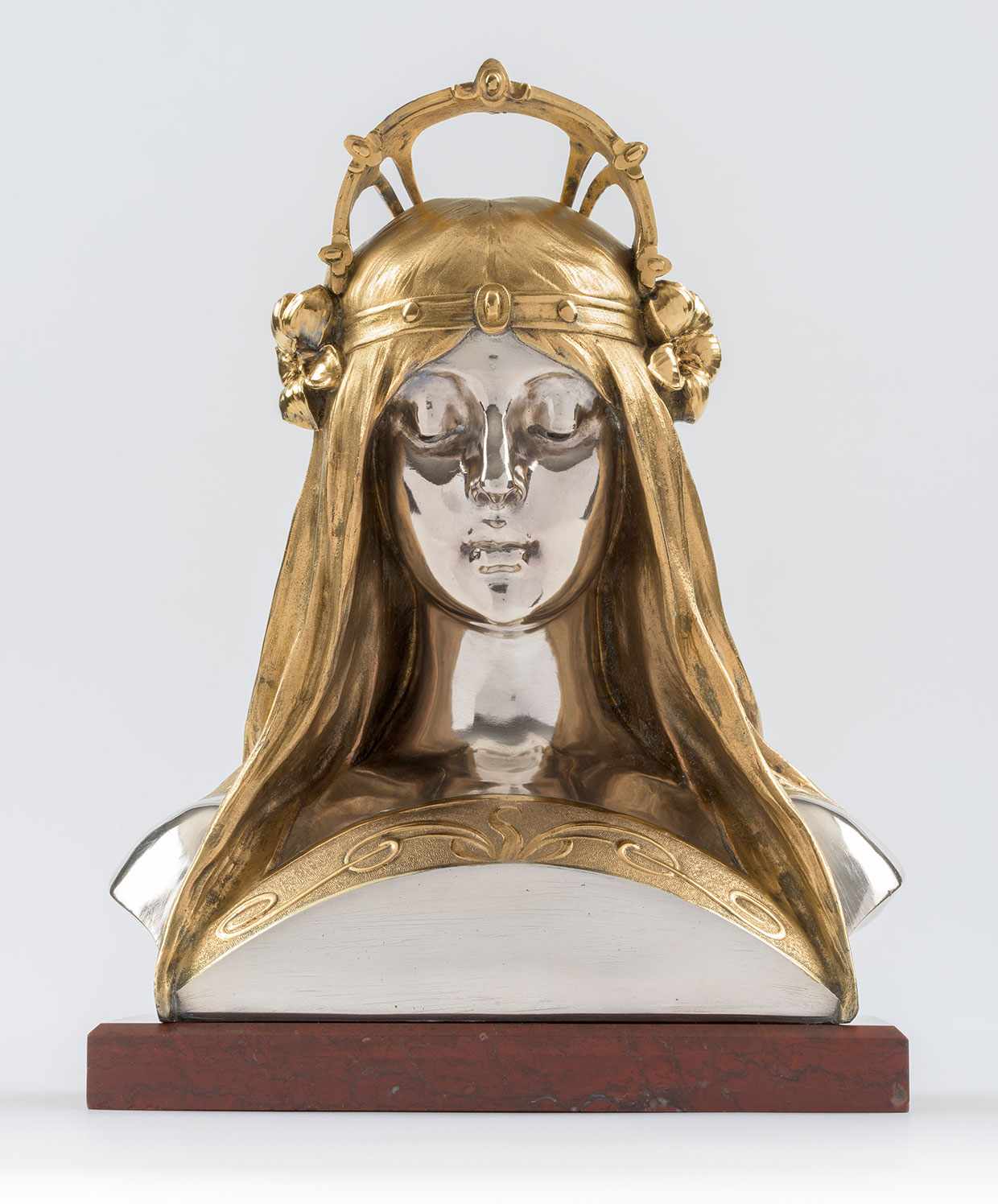 Alphonse Mucha, Pigehoved lavet til parfumeriet Houbigants stand på Verdensudstillingen i Paris © Mucha Trust 2018