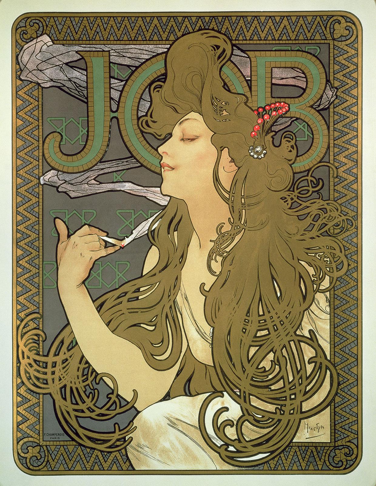 "Alphonse Mucha, Plakat til ""Job"" cigaretpapir, 1896 © Mucha Trust 2018"