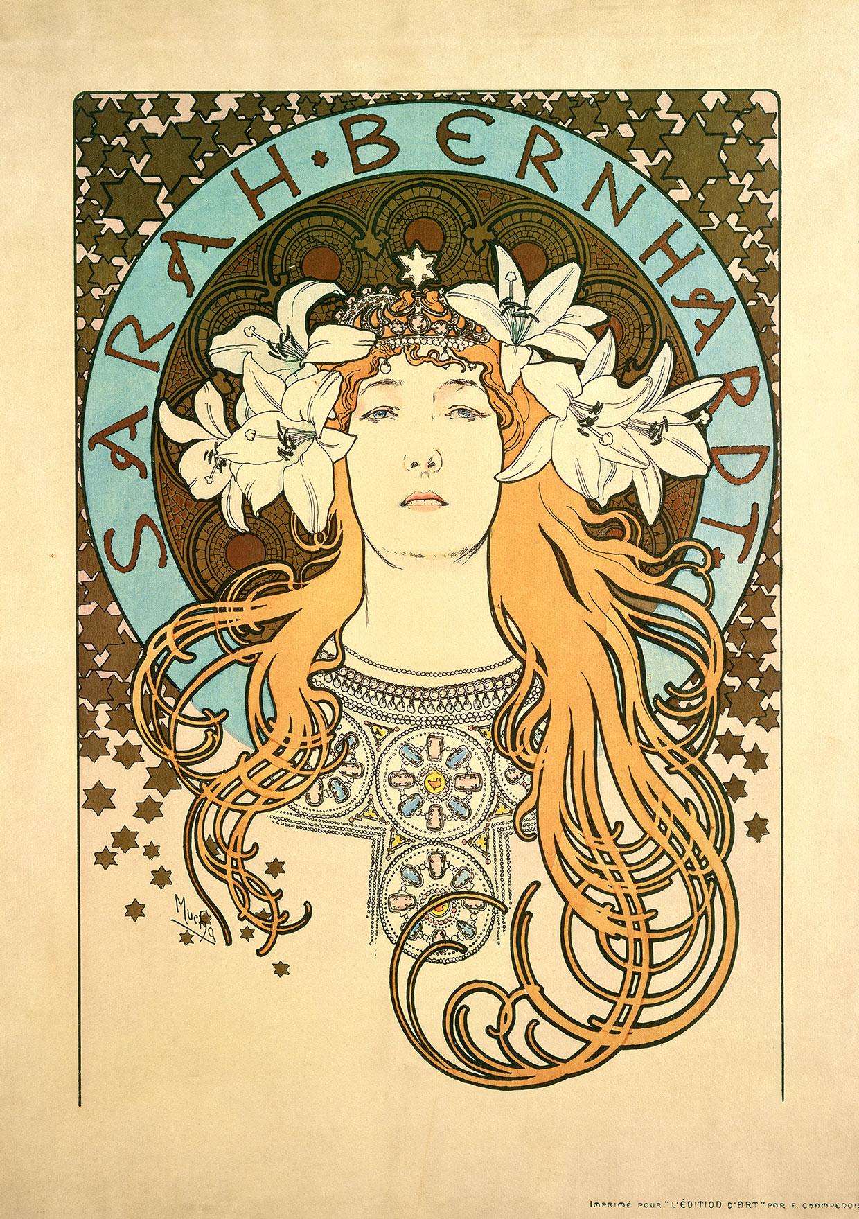 """Alphonse Mucha, Plakat til magasinet La Plume. Sarah Bernhardt som """"Den ensomme prinsesse"""", 1897 © Mucha Trust 2018"""