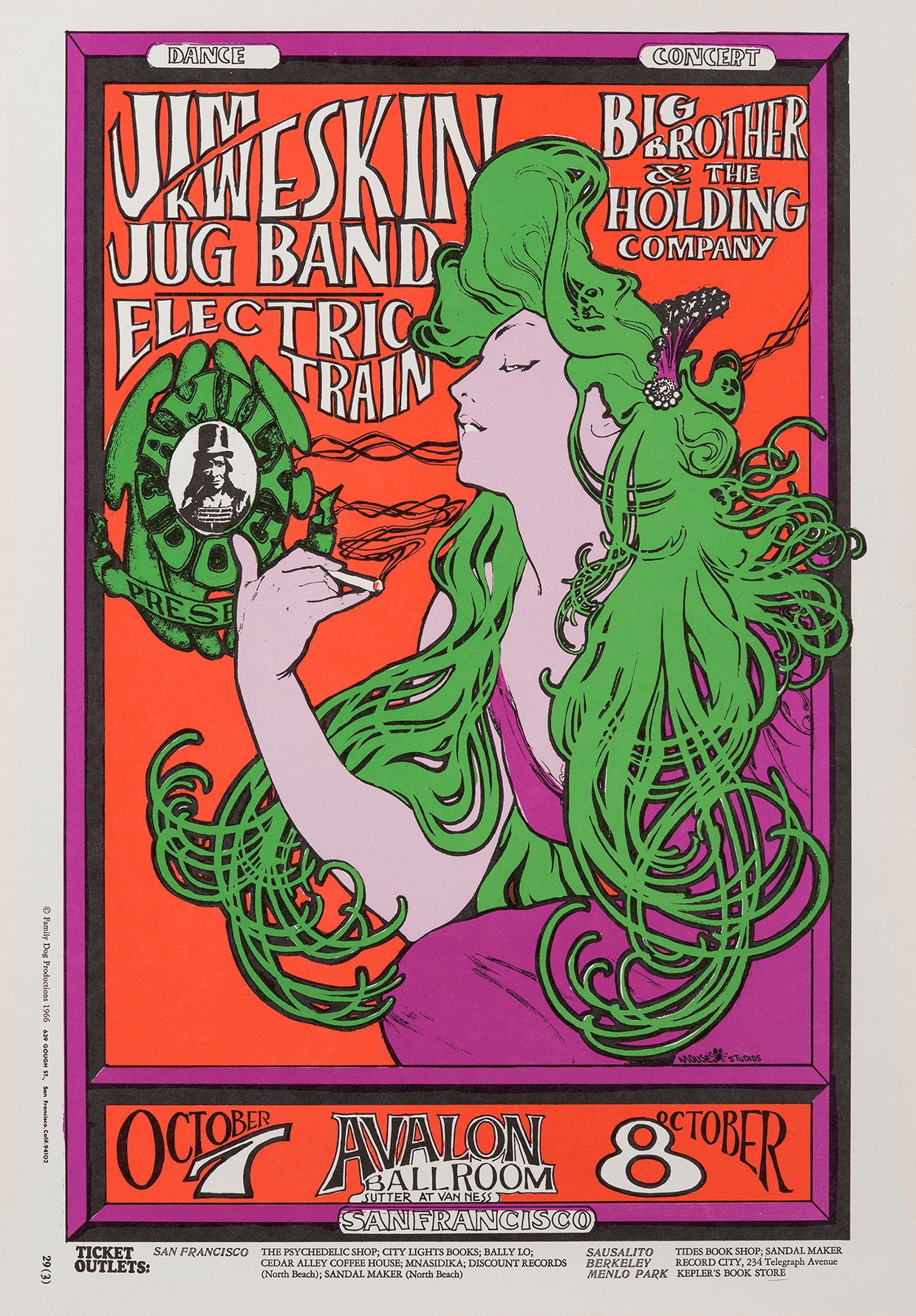 Jim Kweskin Jug Band – Avalon Ballroom, Oct 7-8 1966, Stanley Mouse and Alton Kelly © 1966, 1984, 1994 Rhino Entertainment Company. Used with permission. All rights reserved.