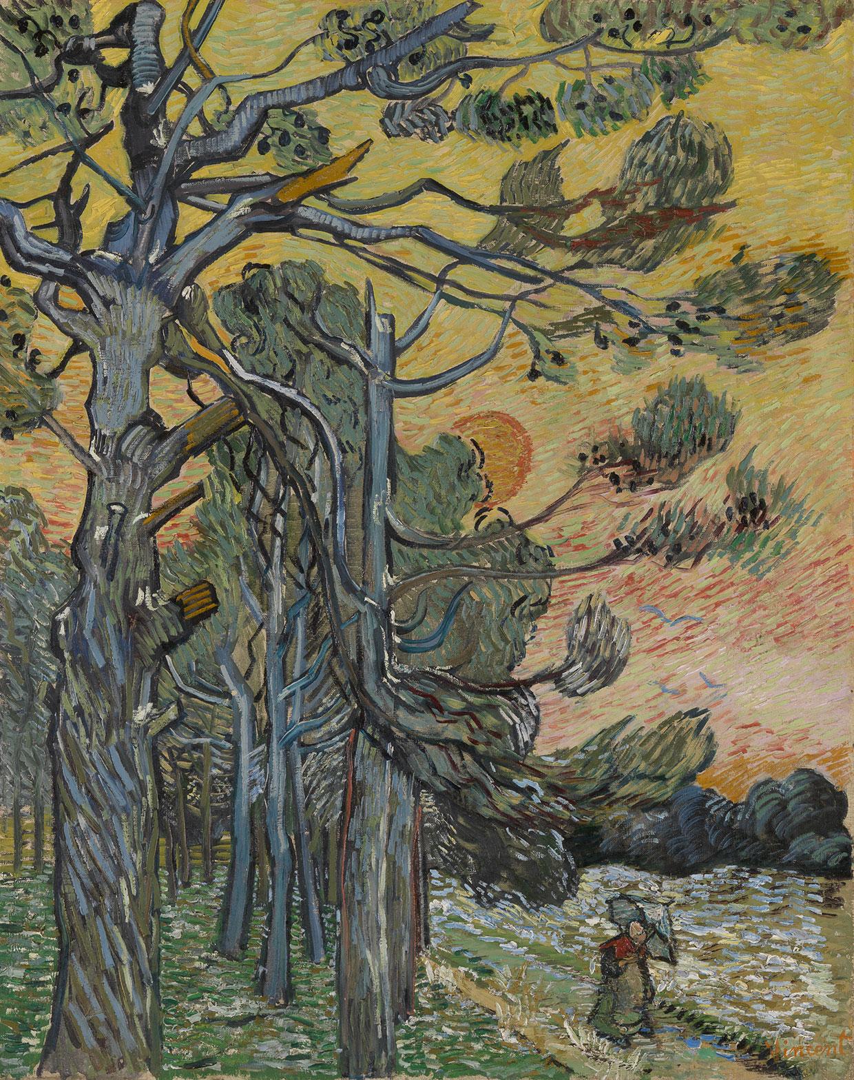 Vincent van Gogh, Pinjetræer ved solnedgang, 1889. Coll. Kröller-Müller Museum, Otterlo