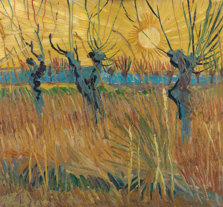 Vincent van Gogh, Stynede piletræer ved solnedgang, 1888. Coll. Kröller-Müller Museum, Otterlo