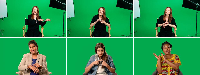Candice Breitz, Stills fra Love Story, 2016. Med Alec Baldwin og Julianne Moore Fra venstre: Shabeena Francis Saveri, Sarah Ezzat Mardini og Mamy Maloba Langa. Courtesy Goodman Gallery, Kaufmann Repetto og KOW